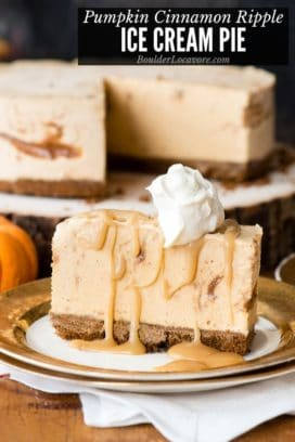 Pumpkin Ice Cream Pie with caramel drizzle