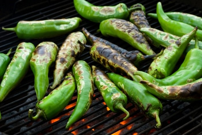 roasting anaheim chilies on grill