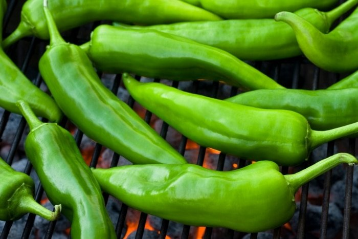 roasting green chilies