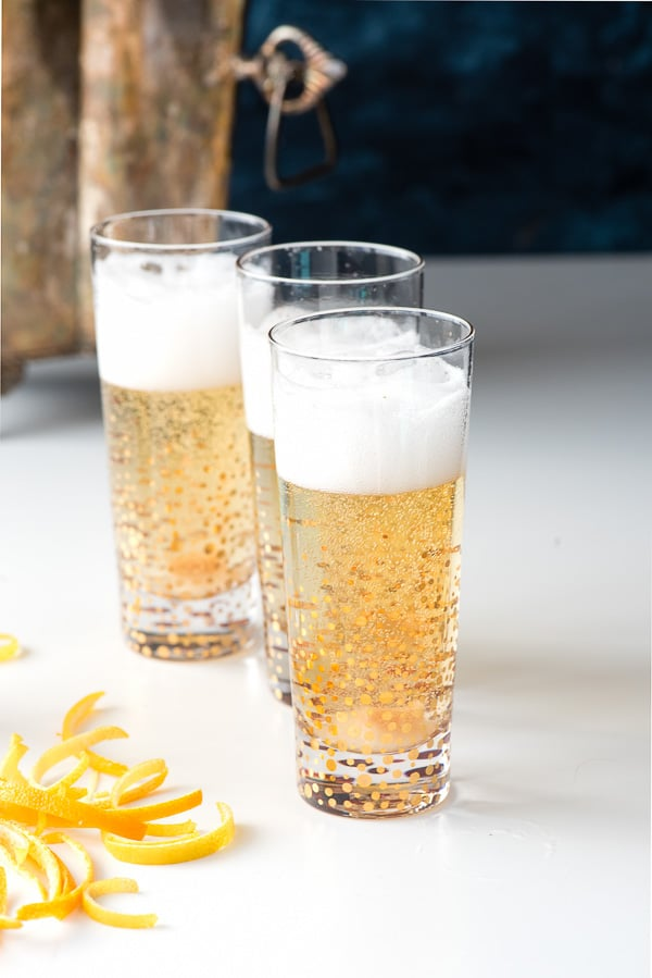 Champagne Cocktails and citrus peels