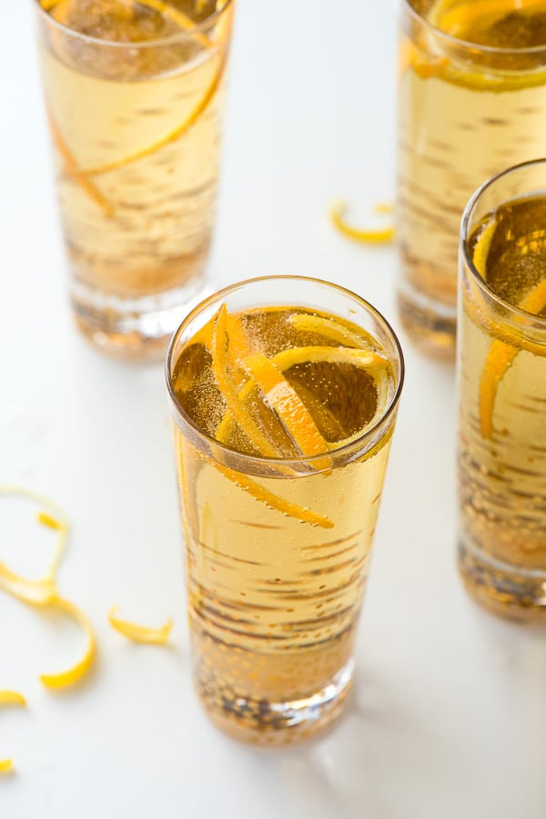 Classic Champagne Cocktails with citrus peel