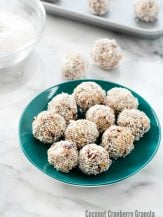 Coconut Cranberry Granola Energy Bites. Ready in 5 minutes (no bake), these energy balls are packed with flavor and nutrition. You'll confuse them for treats! Gluten-free. BoulderLocavore.com