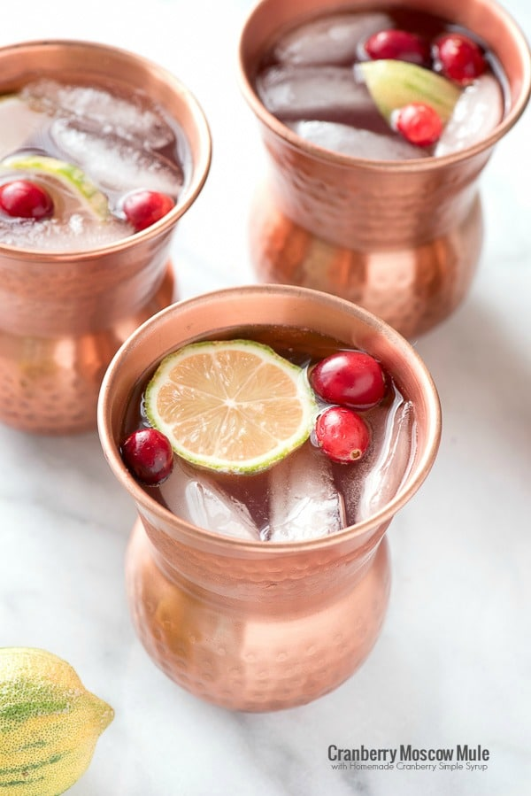 Cranberry Moscow Mule with Homemade Cranberry Simple Syrup. A refreshing fizzy ginger cranberry cocktail recipe! - BoulderLocavore.com