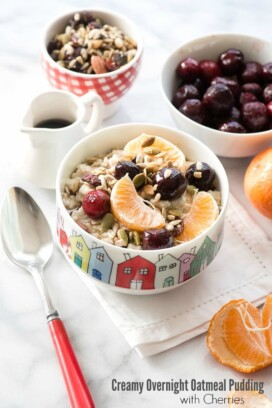 Creamy Overnight Oatmeal Pudding with Cherries