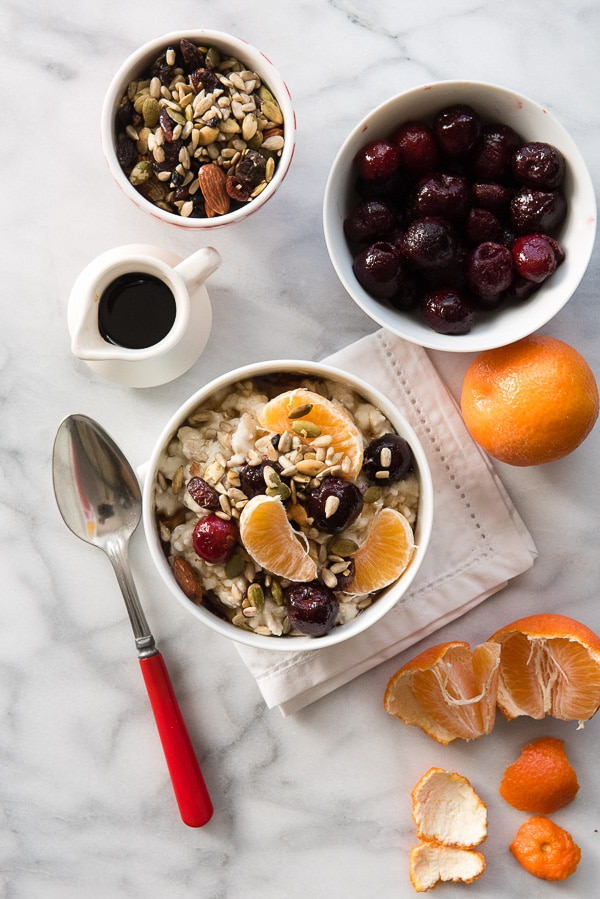 Creamy Overnight Oatmeal Pudding with Cherries. Packed with plant protein, this creamy pudding is easy to make and great for breakfast or a sweet snack. Gluten-free, vegan. BoulderLocavore.com