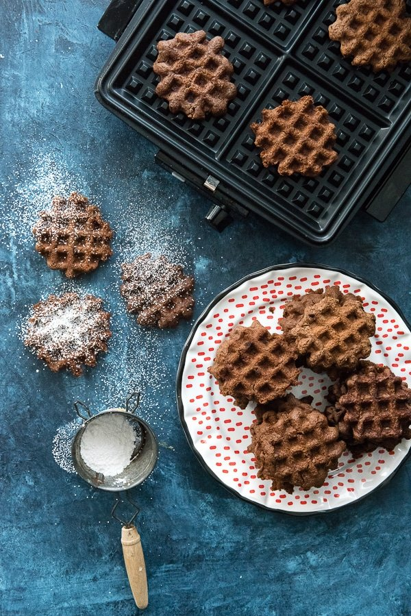 Double Chocolate Mint Waffle Cookies With powdered sugar