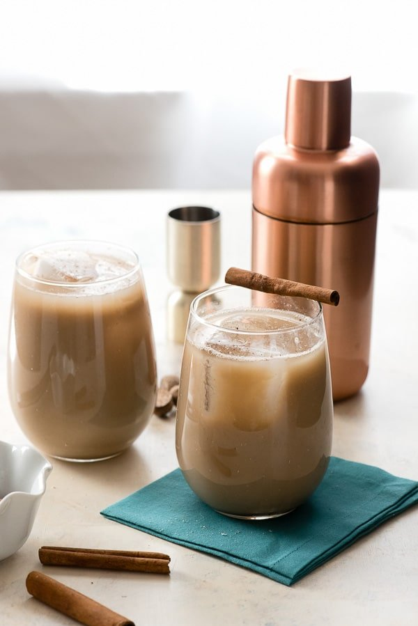 Gingerbread Brandy Milk Punch (vegan). A creamy cocktail with spice infused vanilla almond milk, coffee liqueur and brandy. BoulderLocavore.com