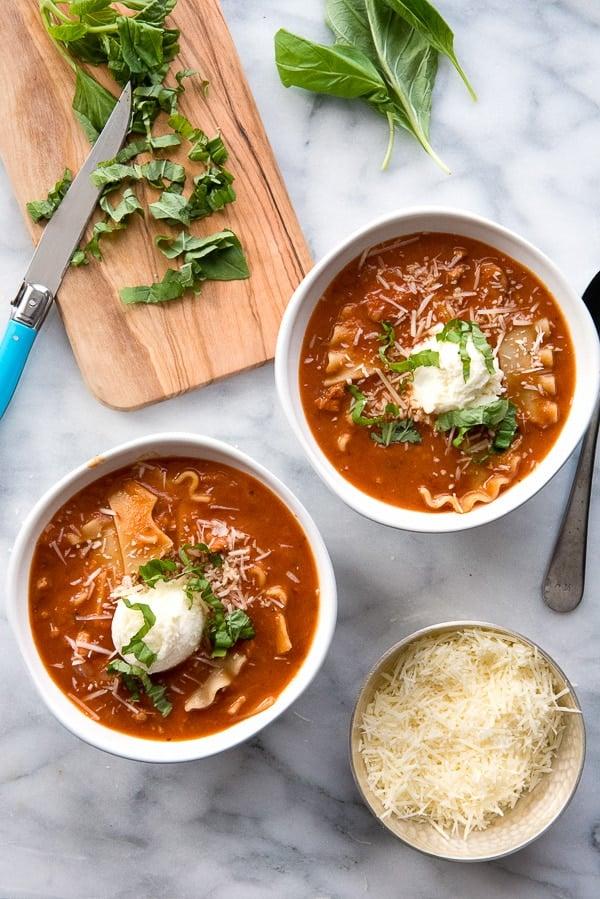 bowls of Lasagna soup
