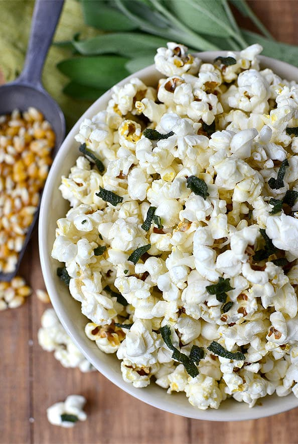 Brown Butter and Crispy Sage Popcorn | iowagirleats