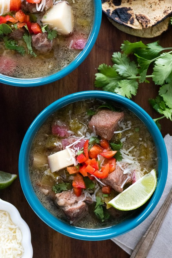 New Mexico Green Chile Stew. Simple, rustic stew full of green chile flavor. Southwestern comfort food! Gluten-free. BoulderLocavore.com