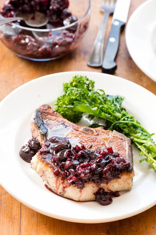Pan-fried Brined Pork Loin Chops with Cherry-Port Sauce. Moist, tender pork chops cook in 8 minutes! BoulderLocavore.com