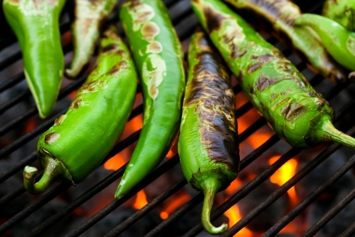 Roasting Green Chilies charred