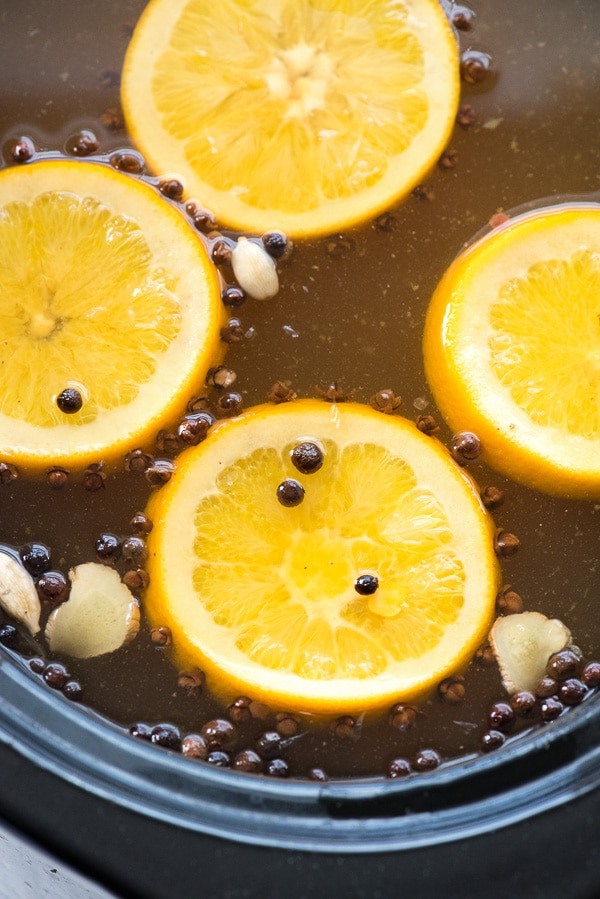 Mulled Apple Cider in slow cooker - closeup