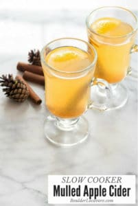 hot mulled apple cider in glass mugs