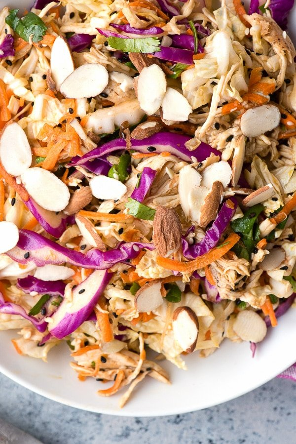Chinese Chicken Salad close up in white bowl