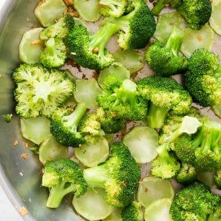 close up of Lemon Garlic Broccoli skillet