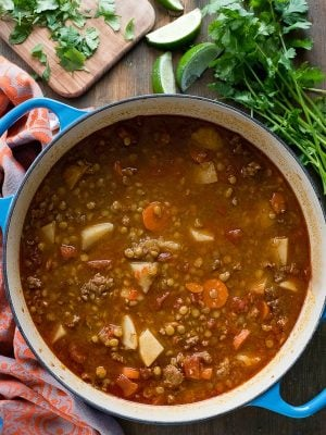 Mexican Chorizo Lentil Stew. Hearty, lightly spicy, chunky stew that's easy to make and sure to keep you warm and satisfied! Gluten-free. - BoulderLocavore.com