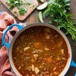 Mexican Chorizo Lentil Stew in a Dutch oven