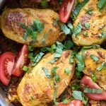 Polynesian Chicken Lap Lap Skillet. Savory rice, slightly spicy boneless chicken breasts and a simple fragrant, mouthwatering sauce bring a national dish from the South Pacific alive in your kitchen! Gluten-free - BoulderLocavore.com