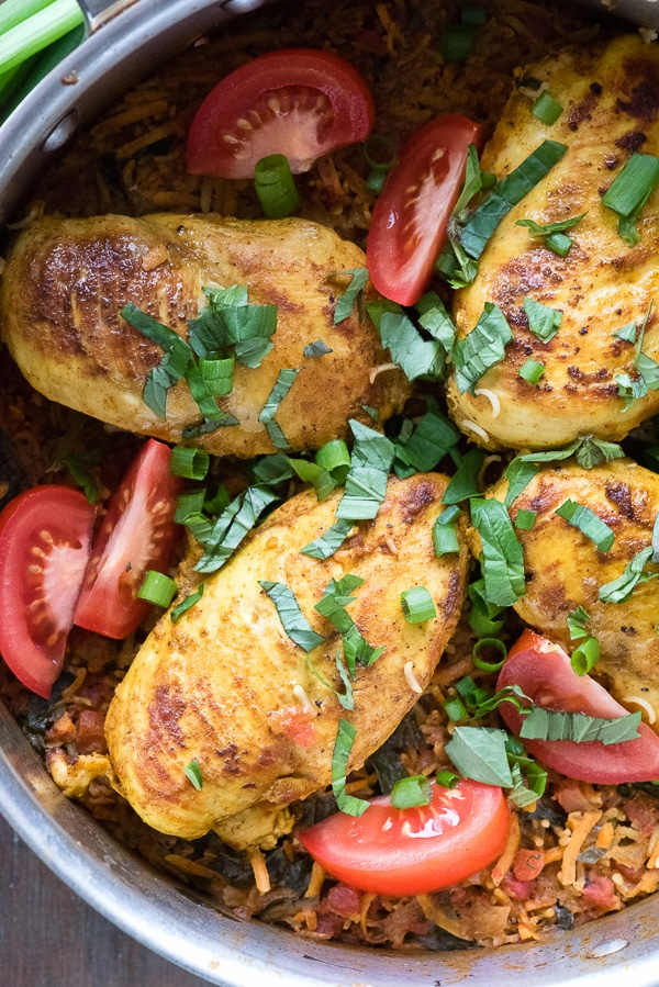 Polynesian Chicken Lap Lap Skillet recipe. Savory rice, slightly spicy boneless chicken breasts and a simple fragrant, mouthwatering sauce bring a national dish from the South Pacific alive in your kitchen! Gluten-free - BoulderLocavore.com