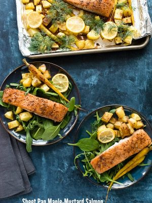 Sheet Pan Maple-Mustard Salmon with Potatoes and Carrots