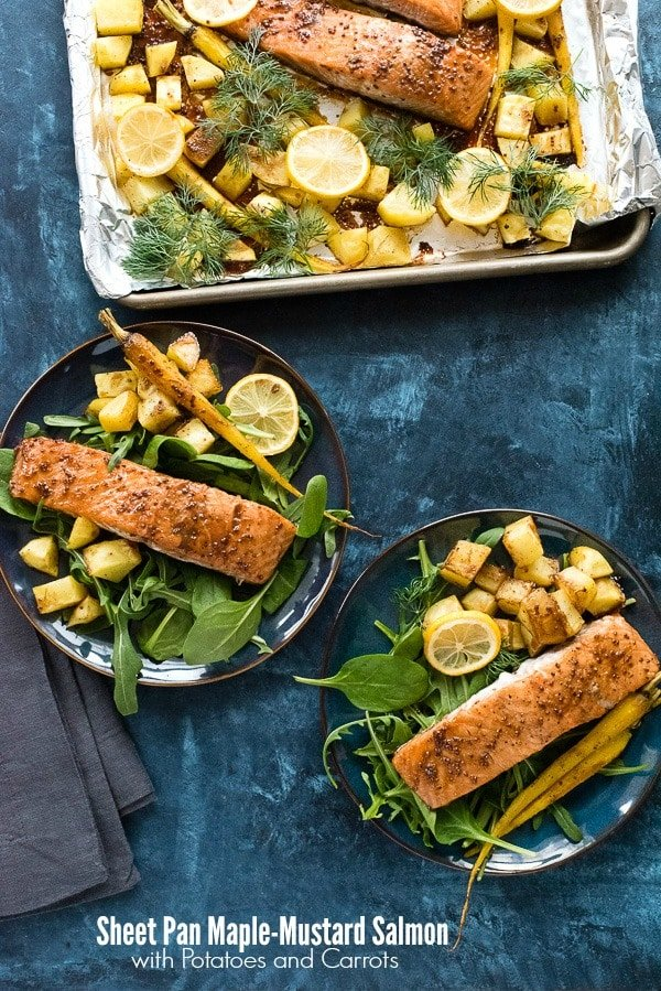 Sheet Pan Maple-Mustard Salmon with Roasted Carrots and Potatoes. A quick and easy dinner recipe with mouthwatering salmon, roasted glazed carrots and potatoes. Ready in les than an hour. Gluten-free recipe. - BoulderLocavore.com