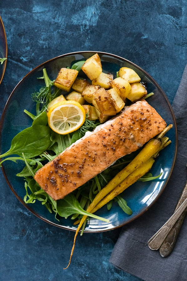 08d89901d3b1 Sheet Pan Maple-Mustard Salmon with Roasted Carrots and Potatoes. A quick  and easy