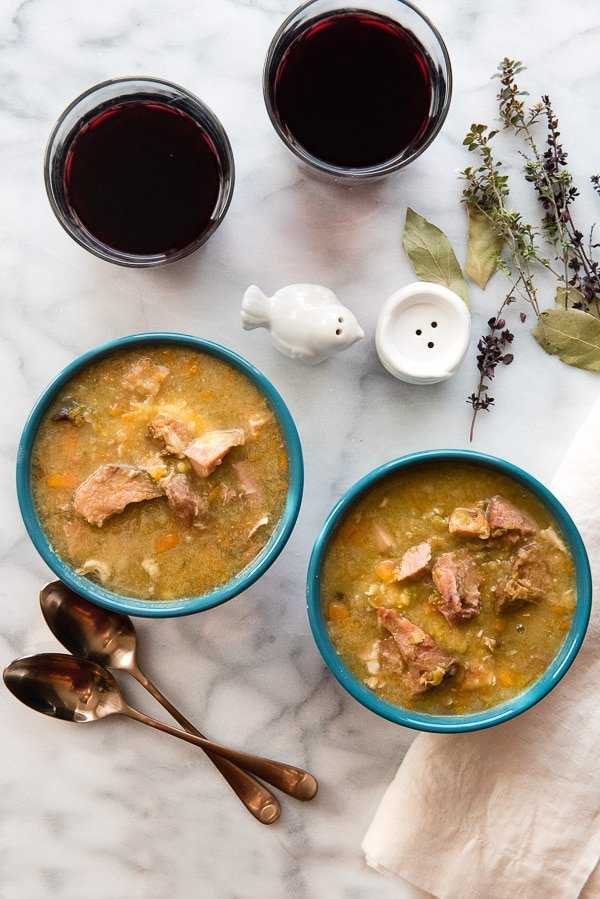 Slow Cooker Split Pea and Ham Soup. This slow cooker soup recipe is easy with great flavor. A perfect way to use holiday ham too! Gluten-free recipe. - BoulderLocavore.com