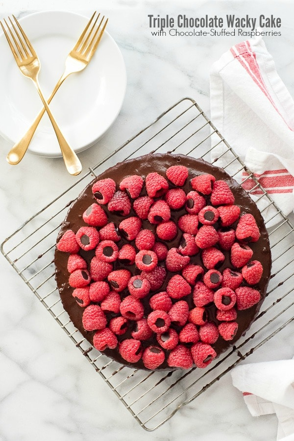 Triple Chocolate Wacky Cake with Chocolate-Stuffed Raspberries ...