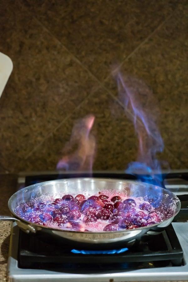 flambeeing cherries in skillet