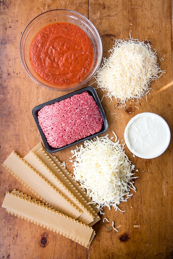 Ingredients for meat lasagna