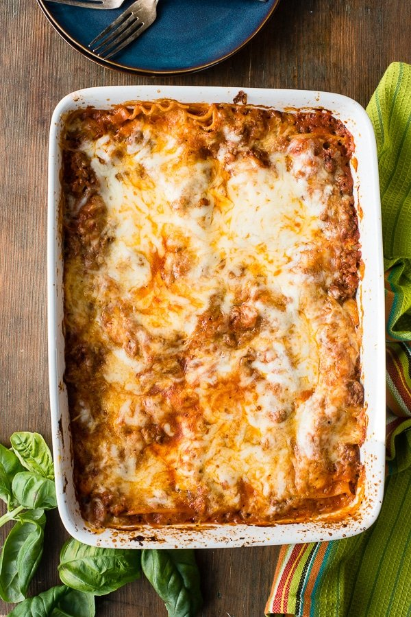 Fast and Easy Gluten-Free Meat Lasagna. A great basic recipe with a tip to make it even more simple. Lots of great options to change it up too! - BoulderLocavore.com