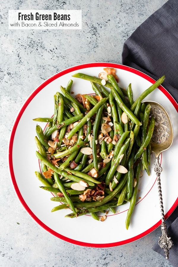 Fresh Green Beans with Bacon and Sliced Almonds. Quick steamed green beans are sauted with bacon, shallots and tossed with sliced almonds for crunch! Fast and tasty. Gluten-free. - BoulderLocavore.com