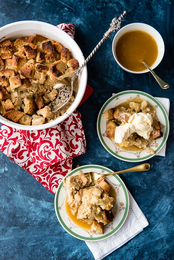 Gluten-Free Bananas Foster Bread Pudding recipe. A perfect combination of New Orleans iconic desserts into an easy to make, gluten-free comfort food dessert recipe you'll love! - BoulderLocavore.com