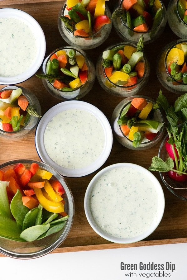 Green Goddess Dip. Creamy, tangy herb dip that's perfect with vegetables and easy to make! Great for entertaining or healthy snacking! Gluten-free. - BoulderLocavore.com