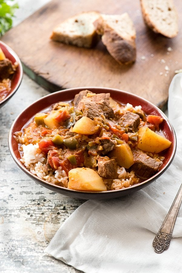 large bowl of Cuban Instant Pot Beef Stew (Carne con Papas)