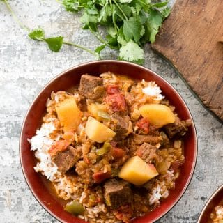 Cuban Instant Pot Beef Stew (Carne con Papas) with fresh cilantro