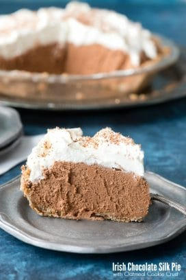 Irish Chocolate Silk Pie with Oatmeal Cookie Crust