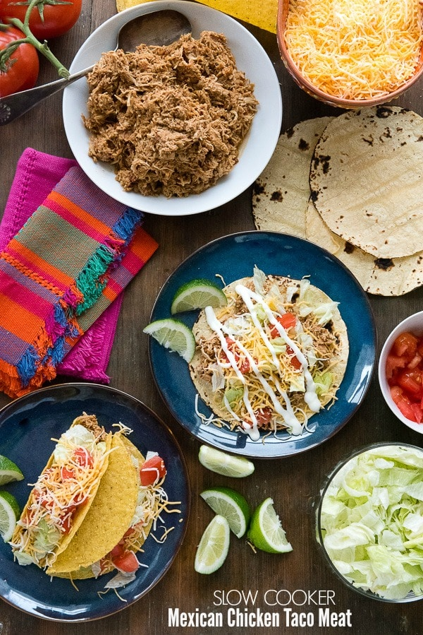 No Oven Dinner Recipes Slow Cooker Mexican Chicken Taco Meat. Savory, spicy chicken with a special trick to shred it effortlessly! Great for Mexican dishes, salads, soups. Makes enough for a crowd or to freeze for leftovers. Gluten-free. - BoulderLocavore.com