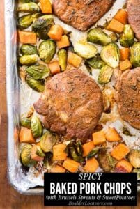 Baked Pork Chops with Brussels Sprouts and Sweet Potatoes