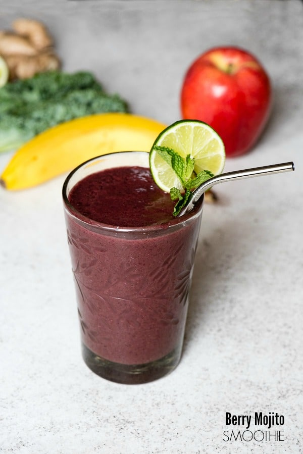 Berry Mojito Smoothie. Packed with flavor and nutrtion you'll want this easy smoothi to start every day! - BoulderLocavore.com