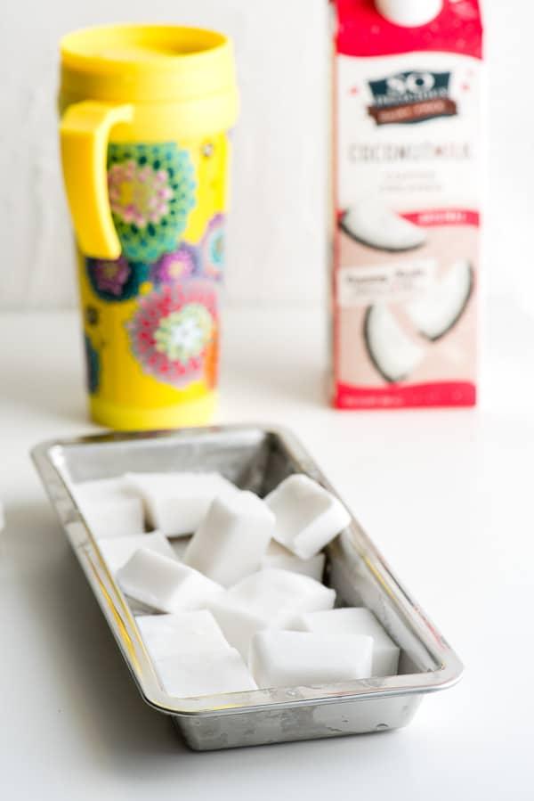 Coconut Creamer ice cubes coffee hack - BoulderLocavore.com