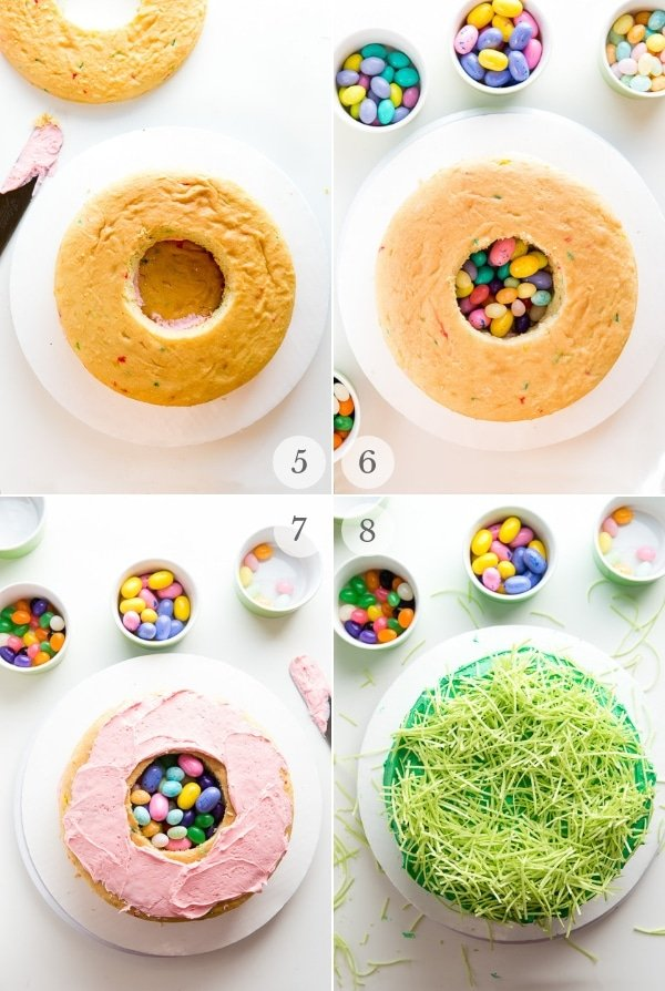 Easter Cake (candy filled) recipe process steps collage 2