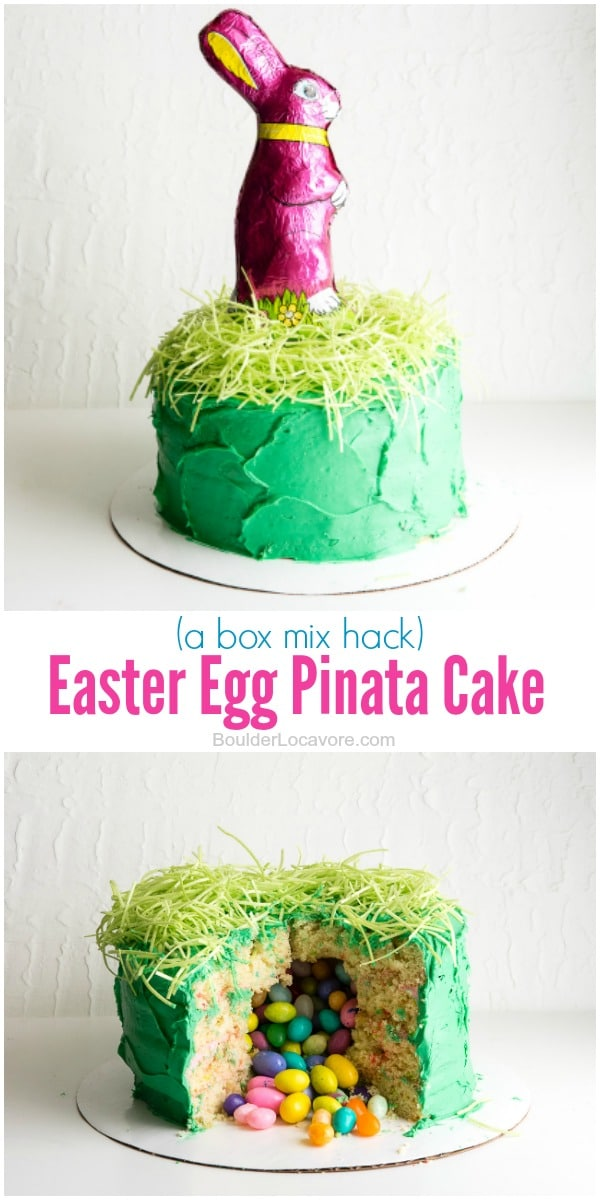 Easter Egg Pinata Cake (a box mix hack). Such a thrill to cut open the cake to find it filled with candy eggs! Easy to make with any box mix and prepared frosting. Photo step by step instructions. This one gluten-free too! - BoulderLocavore.com