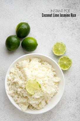 Instant Pot Coconut Lime Jasmine Rice. Fragrant, lightly flavored rice perfect to match with any main dish or bowl recipe. Quick and easy to make. - BoulderLocavore.com