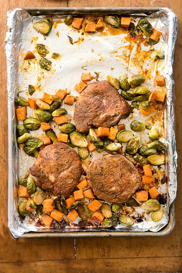 Sheet Pan Spicy Pork Chops wtih Brussels Sprouts and Sweet Potatoes