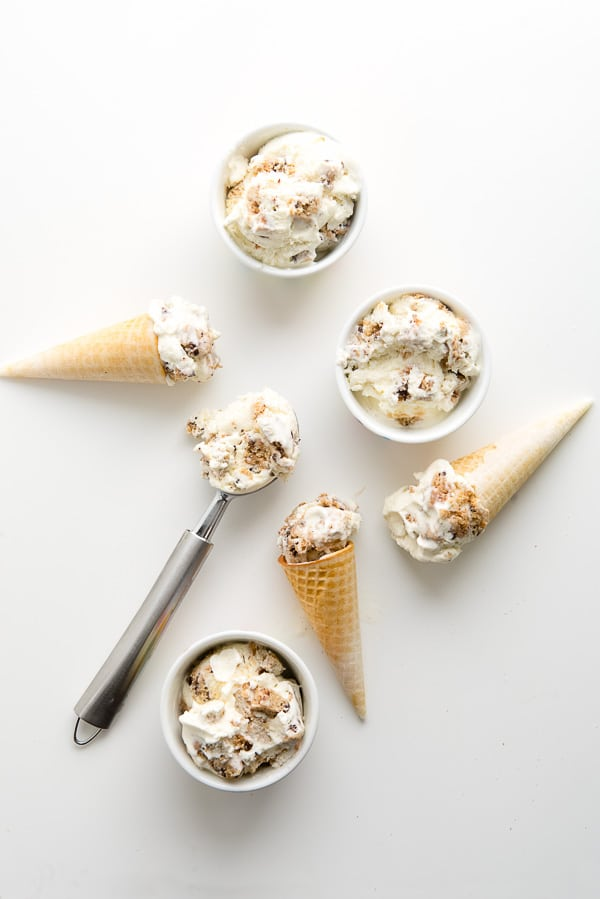 Cookies and Cream Ice Cream in cones and small bowls