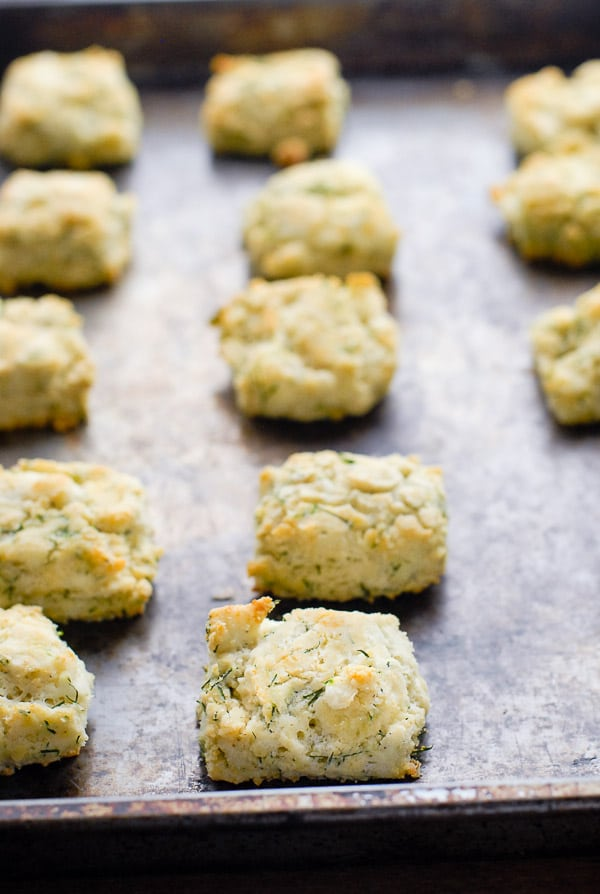 Freshly baked gluten-free goat cheese dill mini biscuits on a vintage baking sheet BoulderLocavore.com
