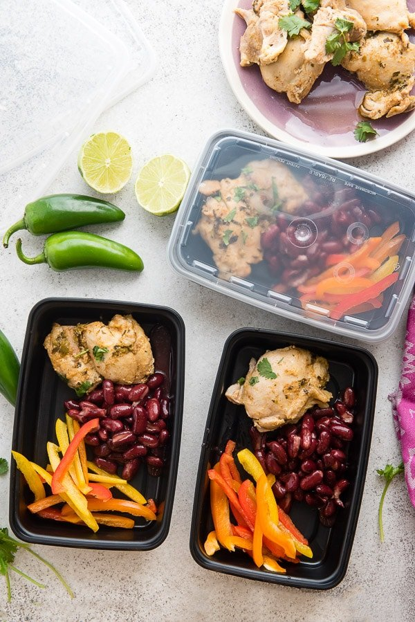 Instant Pot Chili Lime Chicken in food prep containters Boulderlocavore.com