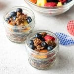 No Bake Fresh Fruit Cobbler with allergy-friendly snack bar crust in 4-ounce Mason Jelly Jars and French Sabre teaspoons BoulderLocavore.com